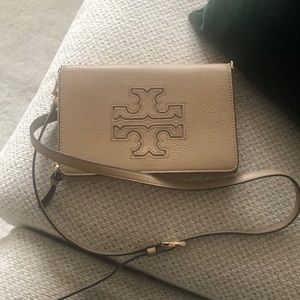 Tory Burch beige wallet bag with adjustable strap